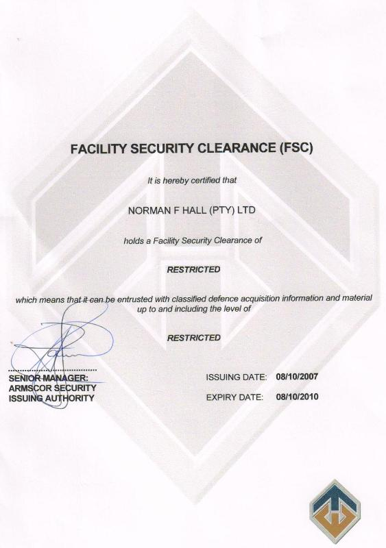 Norman F.Hall (Pty) Ltd – Motor Engineering is accredited with a Armscor Facility Clearence Certificate