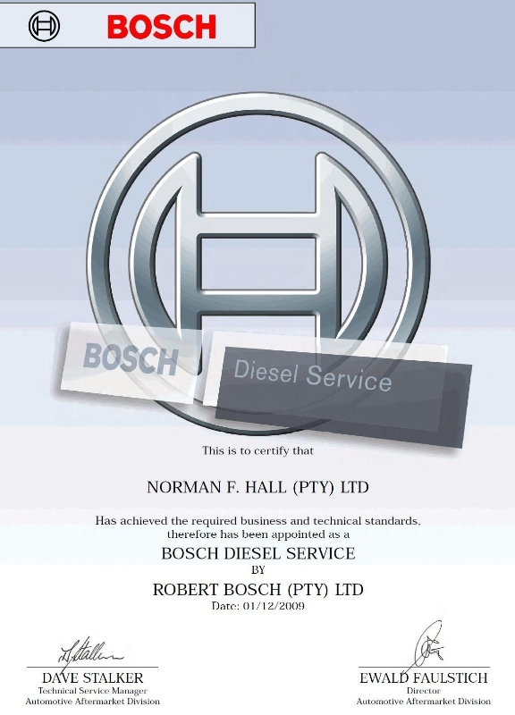 Norman F.Hall (Pty) Ltd – Motor Engineering is accredited with the Bosch Service Certificate
