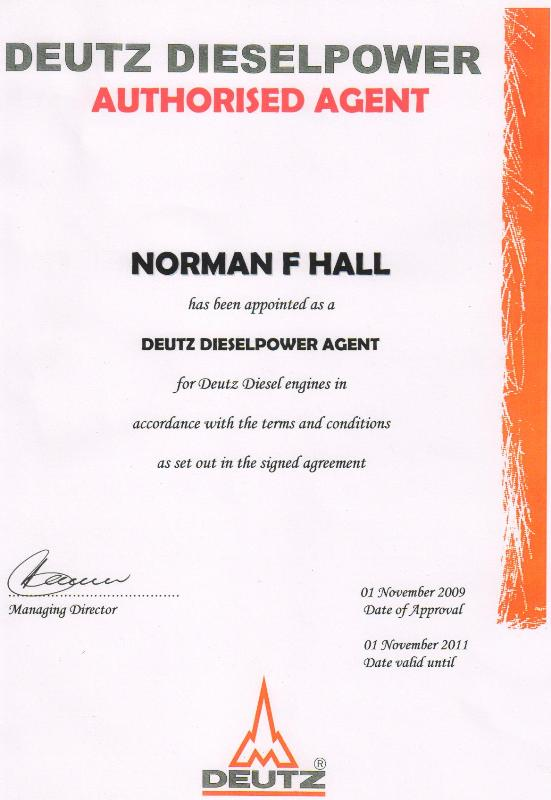 Norman F.Hall (Pty) Ltd – Motor Engineering is accredited with the Deutz Appointment Certificate