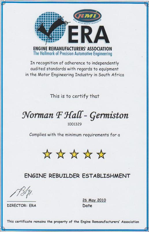 Norman F.Hall (Pty) Ltd – Motor Engineering is accredited with the RMI Workshop Rating Germiston