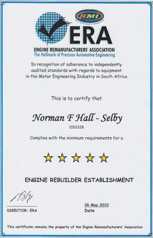 Norman F.Hall (Pty) Ltd – Motor Engineering is accredited with the RMI Workshop Rating Selby