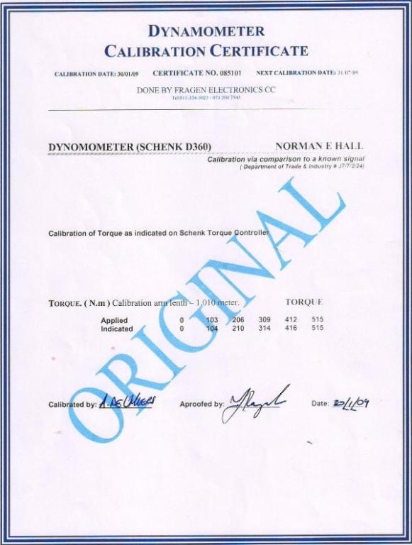 Norman F.Hall (Pty) Ltd – Motor Engineering is accredited with a Dynamometer Calibration Certificate
